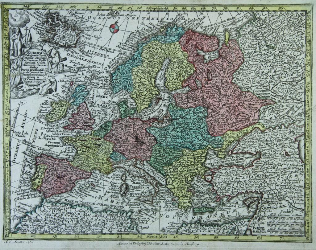 Карта Европы 1740 года. © www.miklianmaps.com