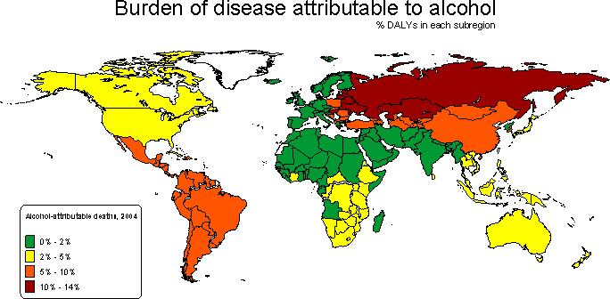 Годы жизни в %, скорректированные по нетрудоспособности из-за пьянства. Oxfam.