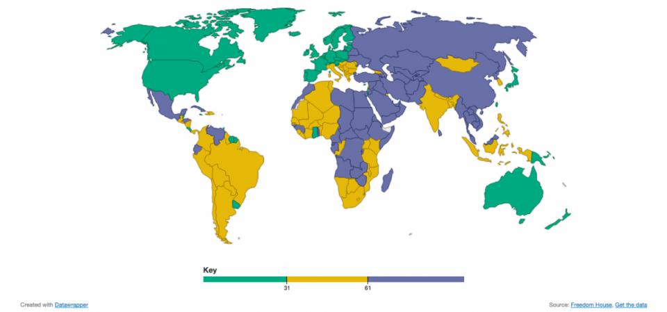 Уровень свободы прессы в странах мира по данным международной организации Freedom House.
