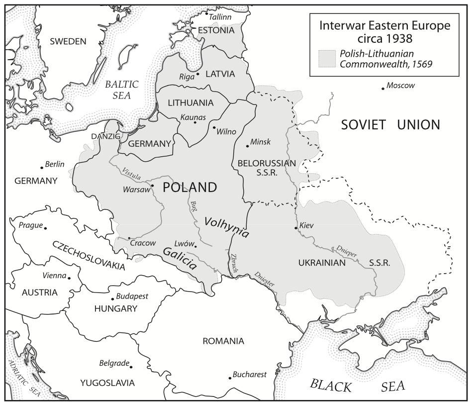 1938 год. Украинские земли разделены между Польшей и СССР.