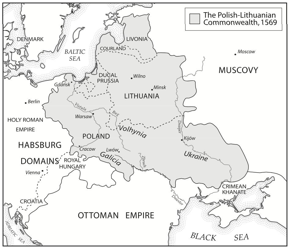 1569 год. Украинские земли в составе Польско-литовского королевства Речи Посполитой.