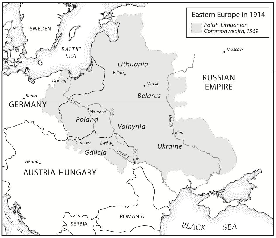 1914 год. Украинские земли разделены между Австро-Венгрией и Российской империей.