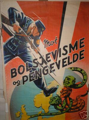 "Пропагандистский плакат датских нацистов ""Против большевизма и капитализма""."