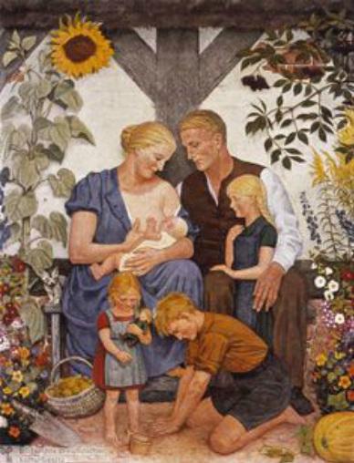 Традиционная арийская семья. Постер 1930 г.