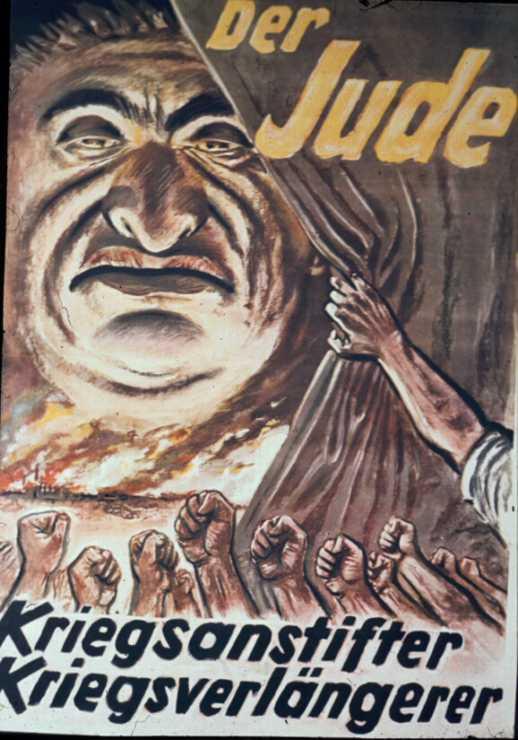 """Пропагандистский плакат: """"Еврей - разжигатель войн""""."""