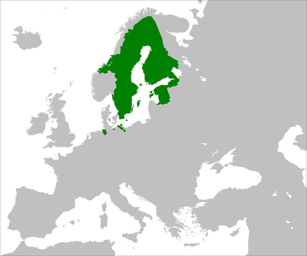 Шведская империя, 1658 г. (Источник: Wikipedia)