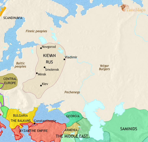 Киевская Русь, 979. (Источник: www.timemaps.com)