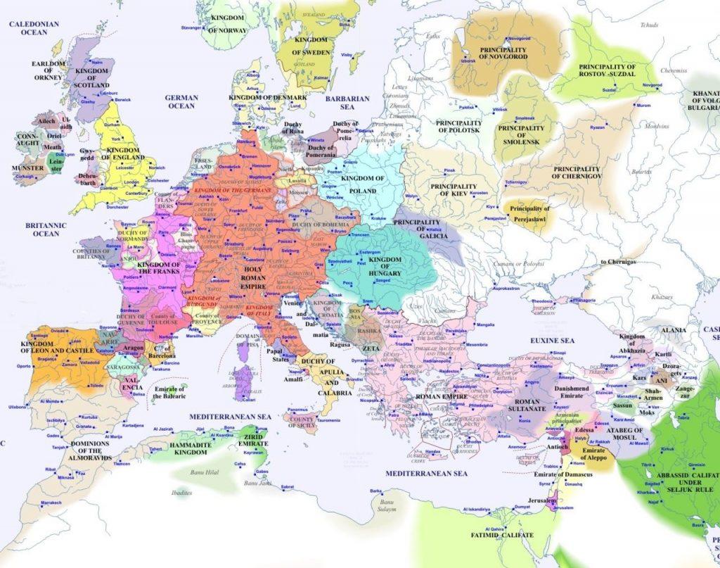 Карта Европы 1000-1200 гг. Источник: Seosait.