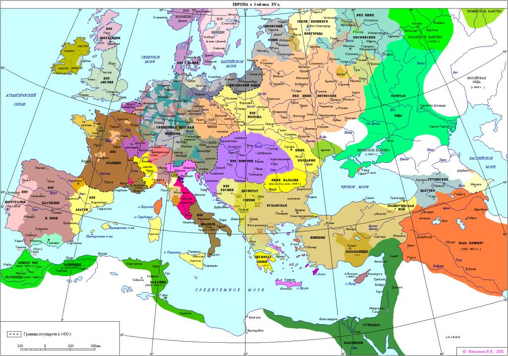 Карта Европы 1400-1450 гг. Период начала создания наций. Источник: Seosait.